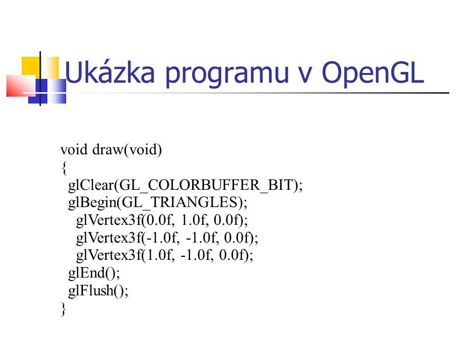 Ukázka programu v OpenGL void draw(void) { glClear(GL_COLORBUFFER_BIT); glBegin(GL_TRIANGLES); glVertex3f(0.0f, 1.0f, 0.0f); glVertex3f(-1.0f, -1.0f, 0.0f); glVertex3f(1.0f, -1.0f, 0.0f); glEnd(); glFlush(); }