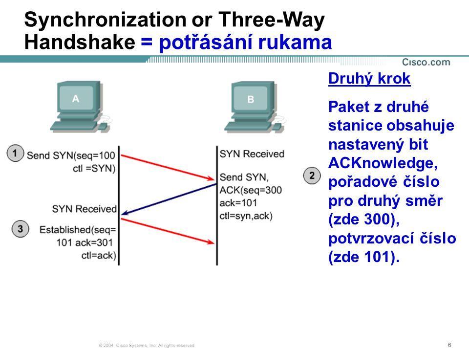 666 © 2004, Cisco Systems, Inc. All rights reserved. Synchronization or Three-Way Handshake = potřásání rukama Druhý krok Paket z druhé stanice obsahu