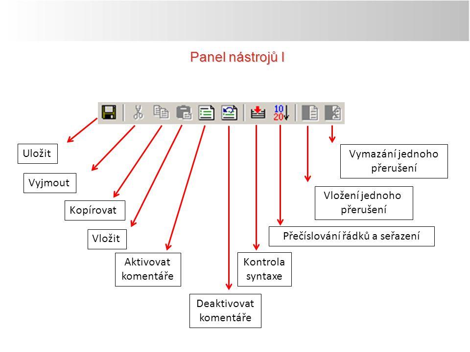 Panel nástrojů II Nová pracovní plocha Otevření pracovní plochy Přidat projekt Dálková správa (ovládání) Online provozOffline provoz Simulační provoz