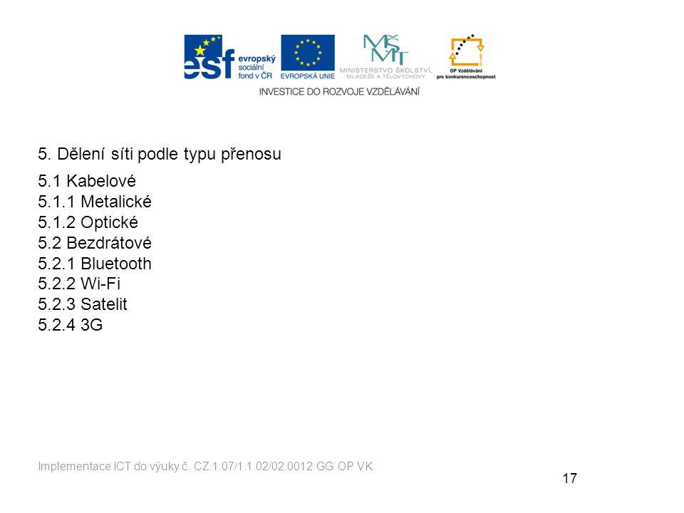 17 Implementace ICT do výuky č.CZ.1.07/1.1.02/02.0012 GG OP VK 5.