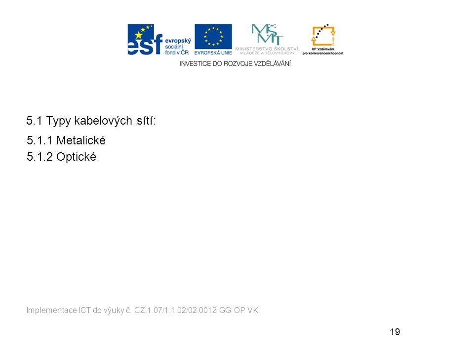 19 5.1.1 Metalické 5.1.2 Optické Implementace ICT do výuky č.