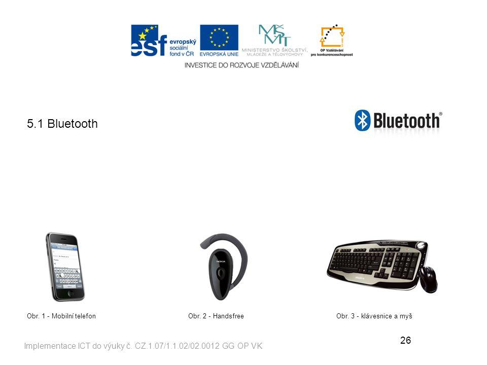 26 Implementace ICT do výuky č.CZ.1.07/1.1.02/02.0012 GG OP VK 5.1 Bluetooth Obr.