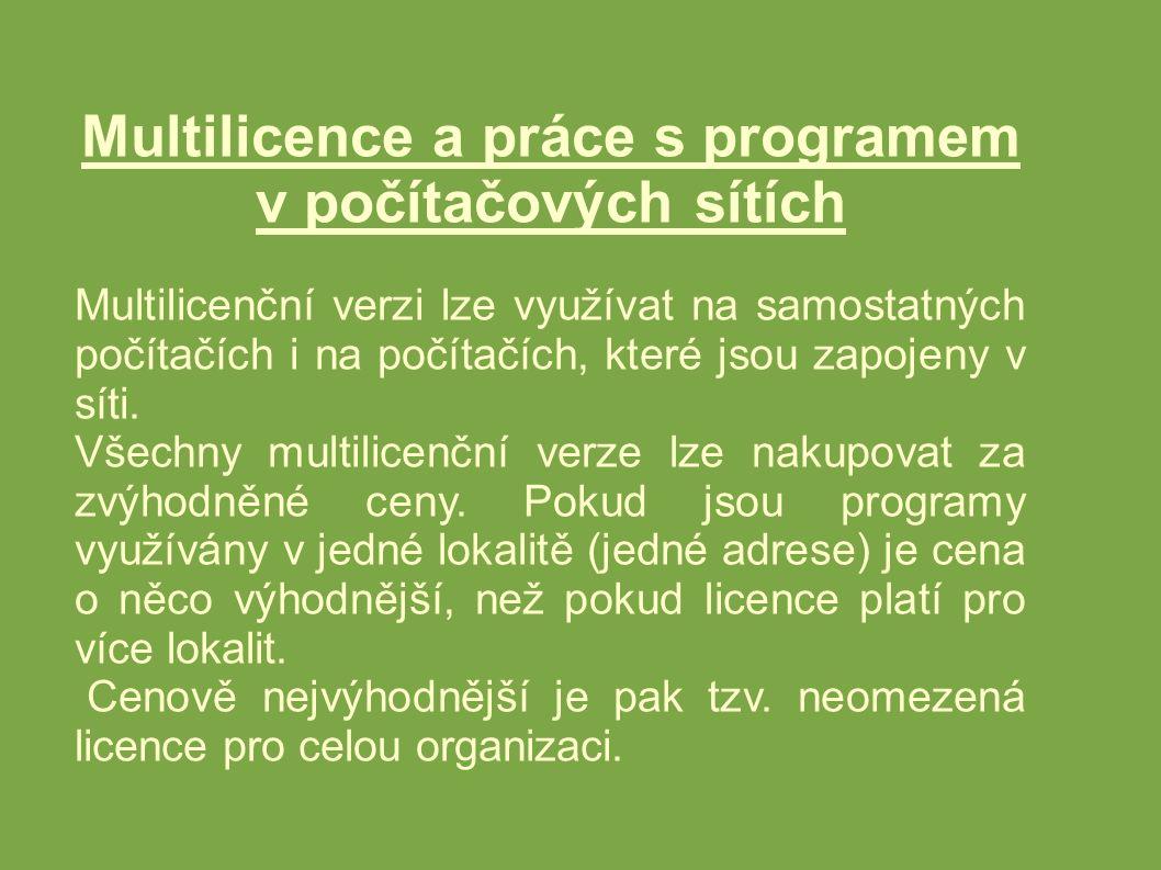 Multilicence a práce s programem v počítačových sítích Multilicenční verzi lze využívat na samostatných počítačích i na počítačích, které jsou zapojeny v síti.