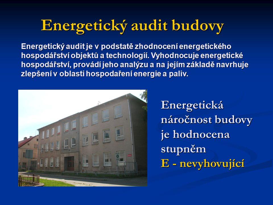 Energetický audit budovy Energetická náročnost budovy je hodnocena stupněm E - nevyhovující Energetický audit je v podstatě zhodnocení energetického hospodářství objektů a technologií.