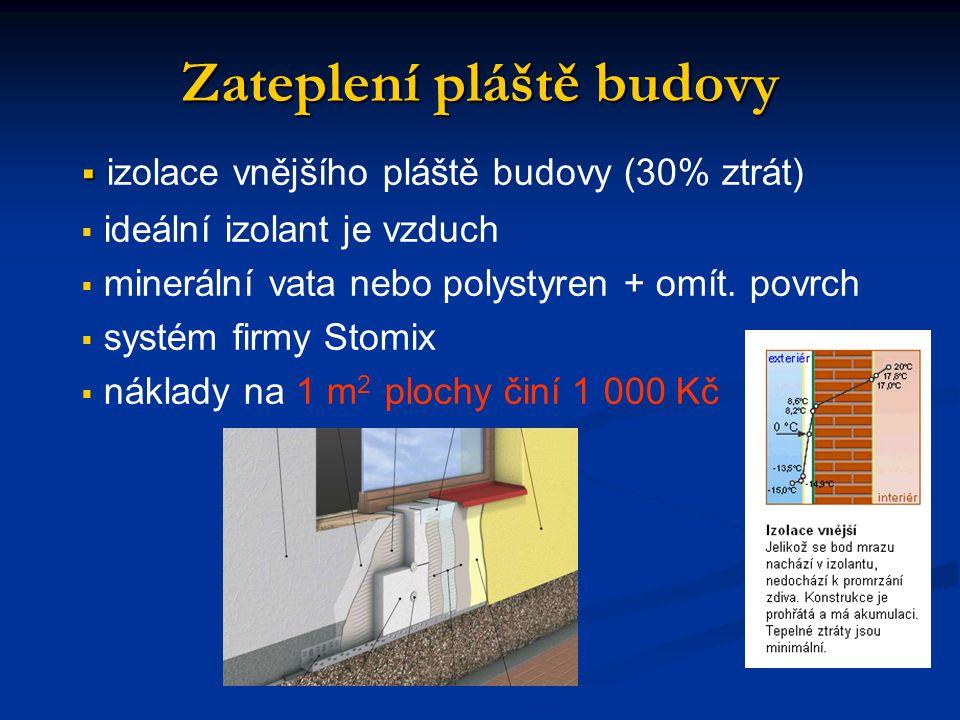 Zateplení pláště budovy   izolace vnějšího pláště budovy (30% ztrát)   ideální izolant je vzduch   minerální vata nebo polystyren + omít.