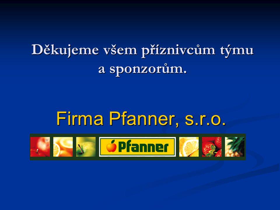 Děkujeme všem příznivcům týmu a sponzorům. Firma Pfanner, s.r.o.