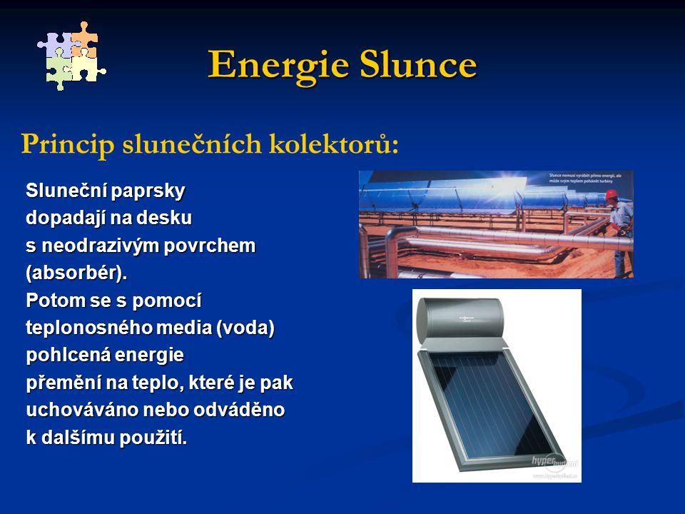 Energie Slunce Sluneční paprsky dopadají na desku s neodrazivým povrchem (absorbér).