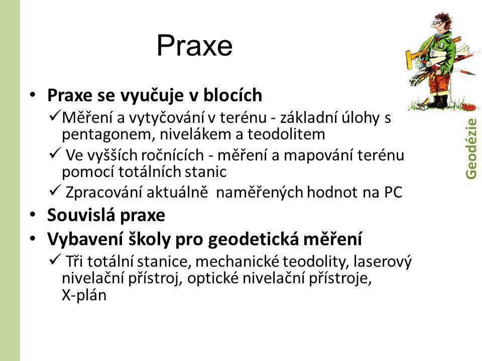 Praxe • Praxe se vyučuje v blocích  Měření a vytyčování v terénu - základní úlohy s pentagonem, nivelákem a teodolitem  Ve vyšších ročnících - měřen