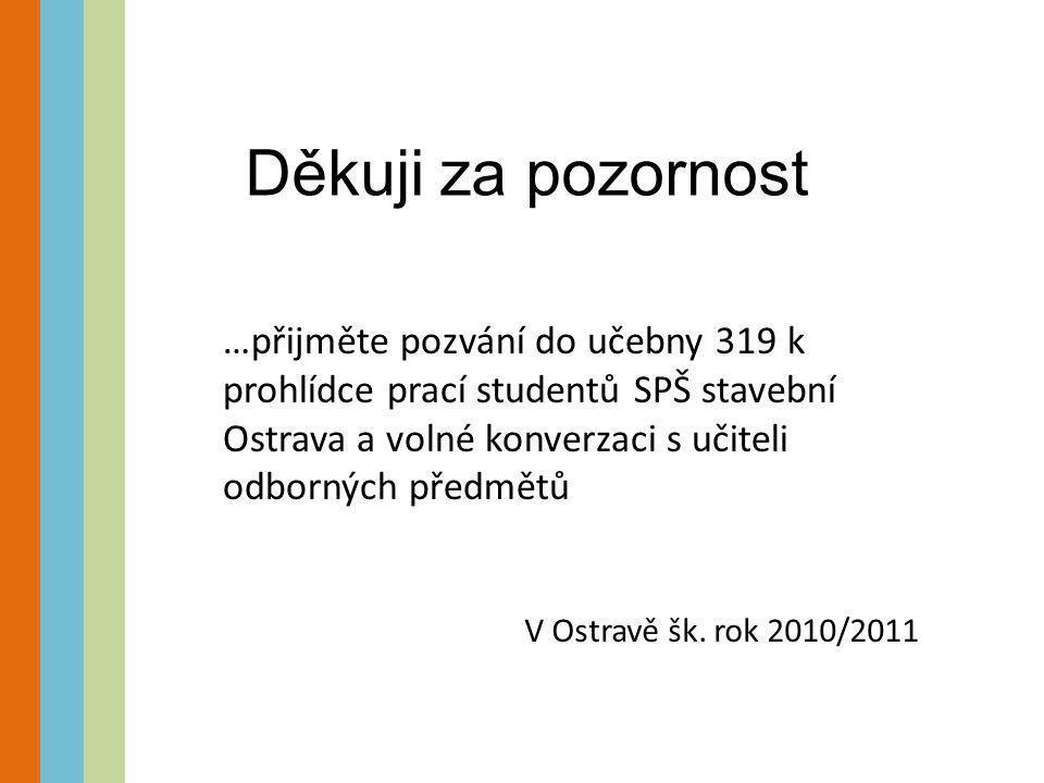Děkuji za pozornost …přijměte pozvání do učebny 319 k prohlídce prací studentů SPŠ stavební Ostrava a volné konverzaci s učiteli odborných předmětů V