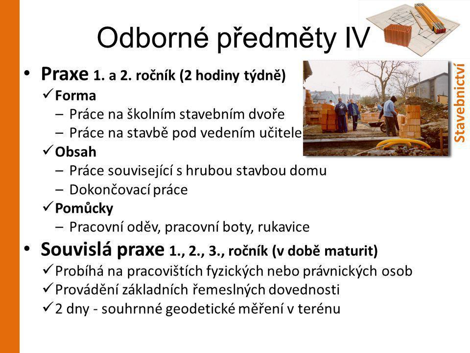 Odborné předměty IV • Praxe 1. a 2. ročník (2 hodiny týdně)  Forma –Práce na školním stavebním dvoře –Práce na stavbě pod vedením učitele  Obsah –Pr