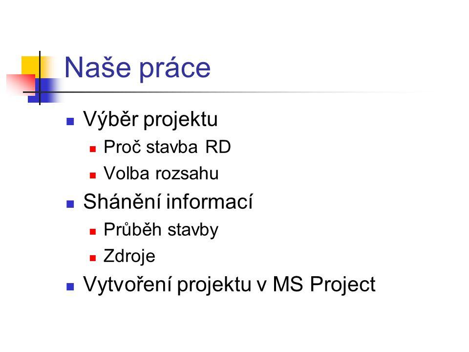 Naše práce  Výběr projektu  Proč stavba RD  Volba rozsahu  Shánění informací  Průběh stavby  Zdroje  Vytvoření projektu v MS Project
