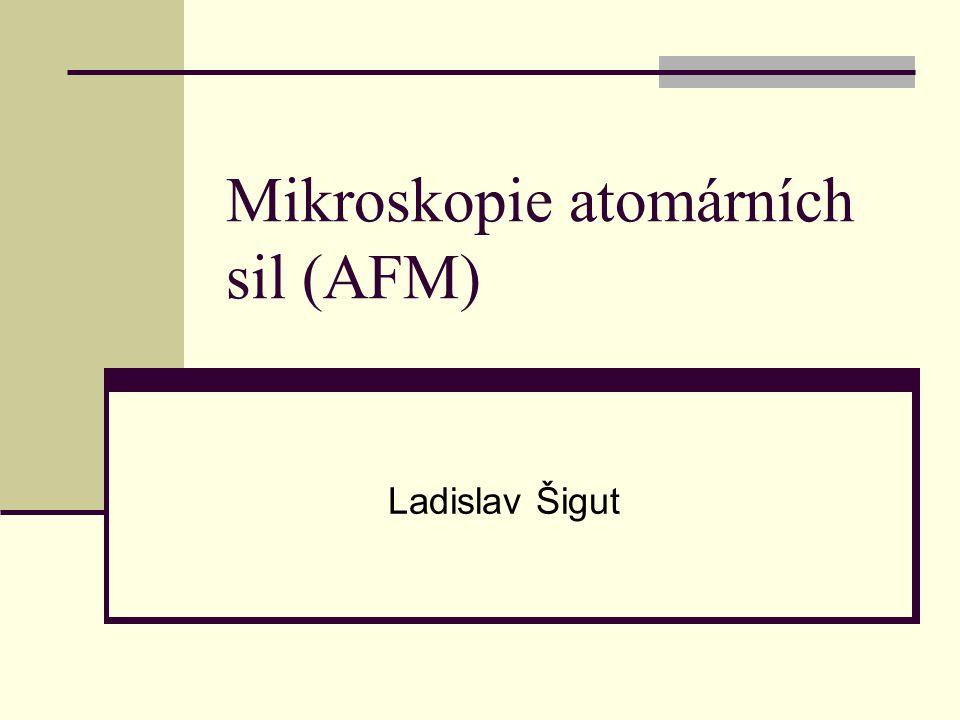 Obsah  Základní charakteristika metody (SPM)  Mikroskopie atomárních sil (AFM)  AFM – princip  AFM – režimy snímání povrchu  AFM – rozlišení  Vlastnosti a uplatnění AFM  Přístroje  Modifikace AFM  Literatura
