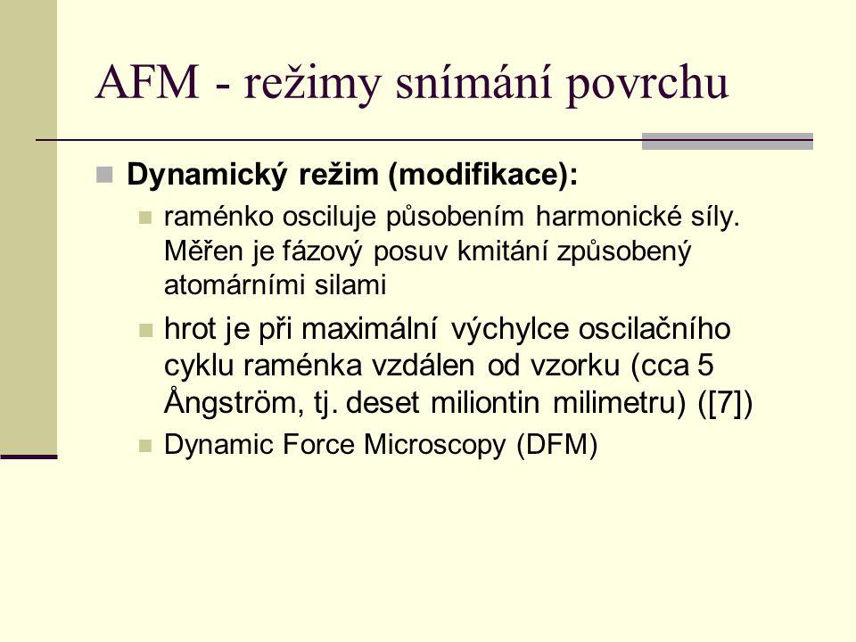 AFM - režimy snímání povrchu  Dynamický režim (modifikace):  raménko osciluje působením harmonické síly.
