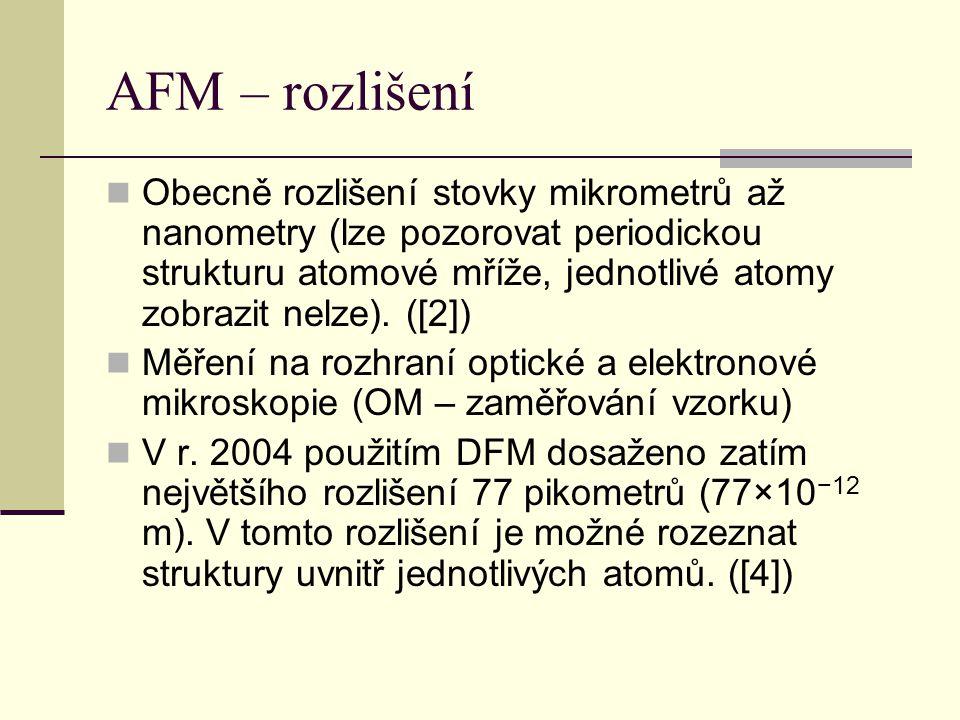 AFM – rozlišení  Obecně rozlišení stovky mikrometrů až nanometry (lze pozorovat periodickou strukturu atomové mříže, jednotlivé atomy zobrazit nelze).