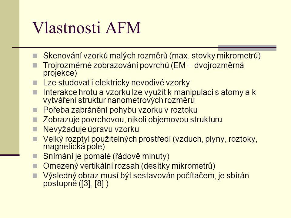 Vlastnosti AFM  Skenování vzorků malých rozměrů (max.