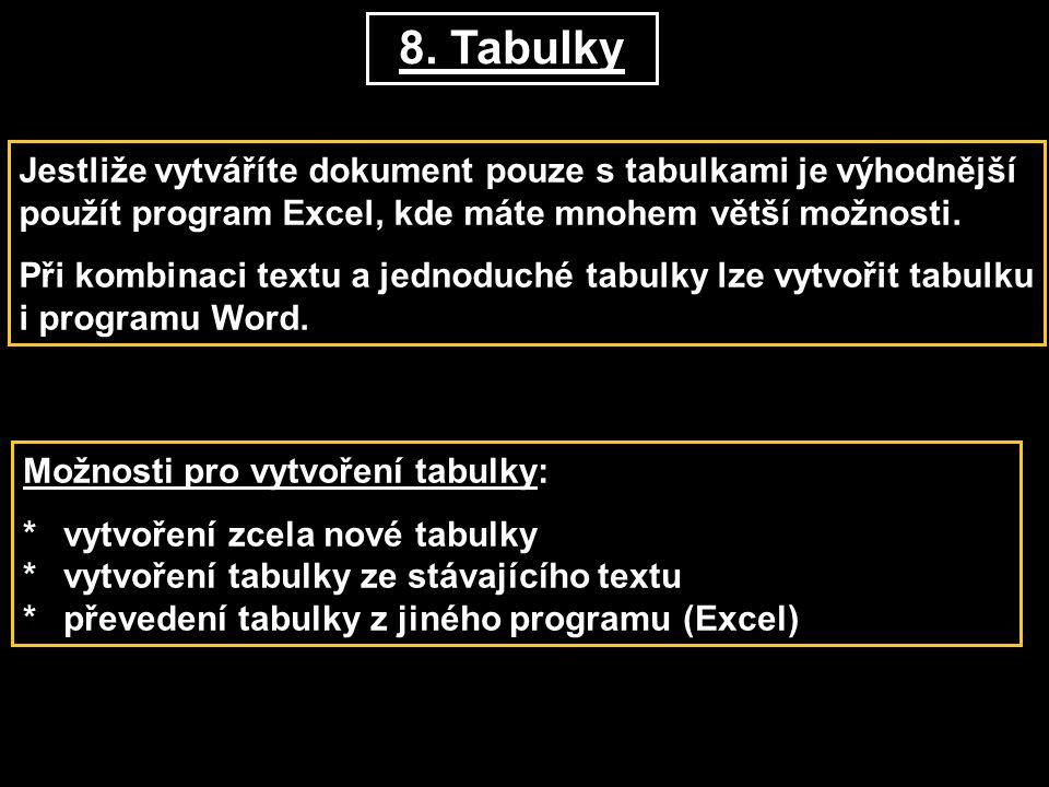 8. Tabulky Jestliže vytváříte dokument pouze s tabulkami je výhodnější použít program Excel, kde máte mnohem větší možnosti. Při kombinaci textu a jed