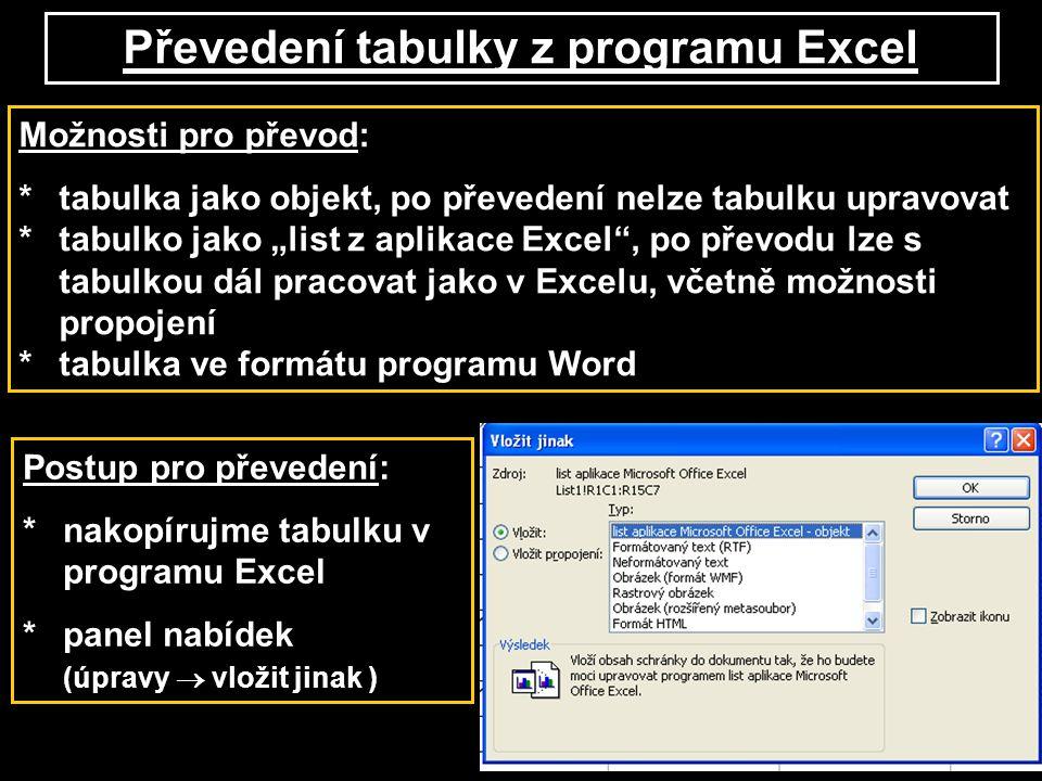 """Převedení tabulky z programu Excel Možnosti pro převod: *tabulka jako objekt, po převedení nelze tabulku upravovat *tabulko jako """"list z aplikace Exce"""