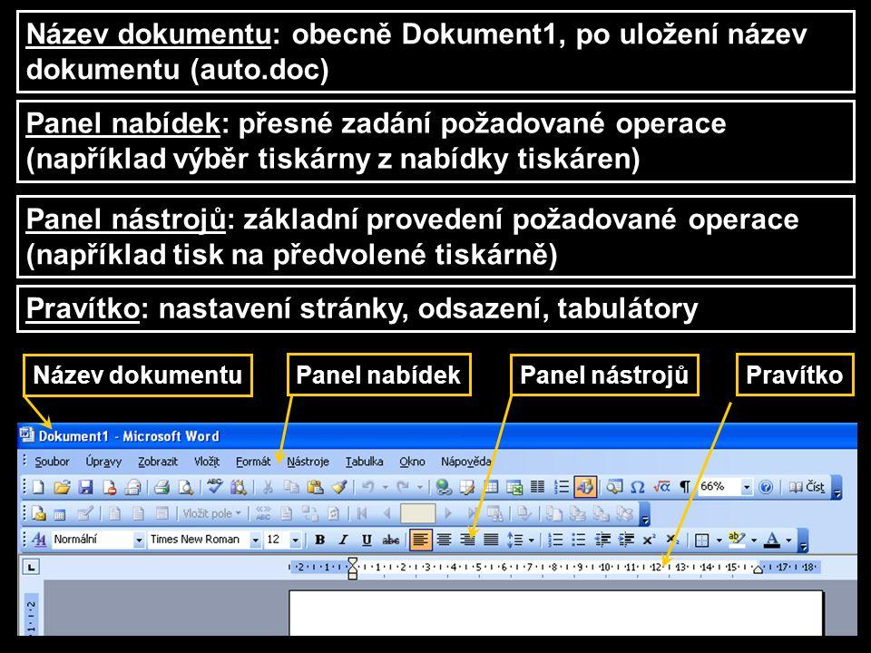 Název dokumentu Pravítko Panel nástrojů Panel nabídek Název dokumentu: obecně Dokument1, po uložení název dokumentu (auto.doc) Panel nabídek: přesné z