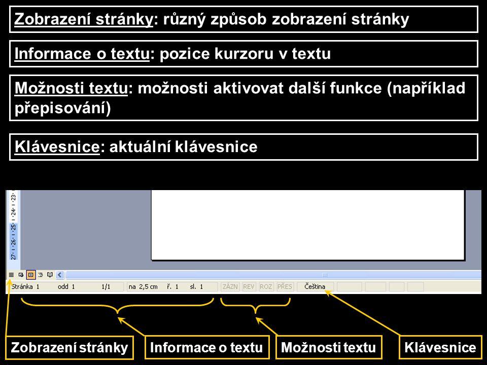 Zobrazení stránky Klávesnice Možnosti textu Informace o textu Zobrazení stránky: různý způsob zobrazení stránky Informace o textu: pozice kurzoru v te