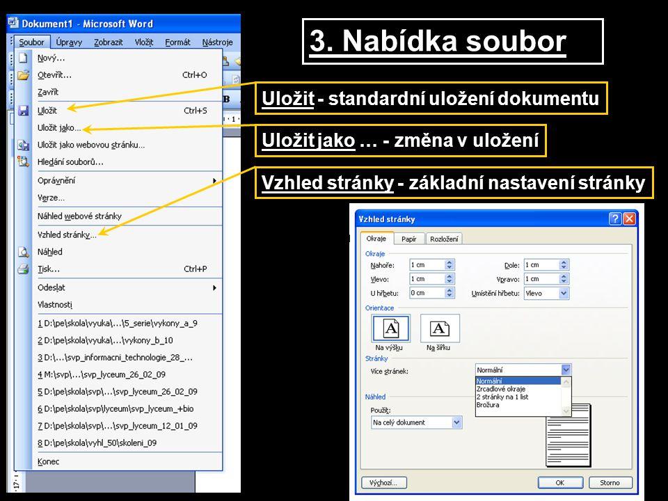 Uložit - standardní uložení dokumentu Vzhled stránky - základní nastavení stránky Uložit jako … - změna v uložení 3. Nabídka soubor