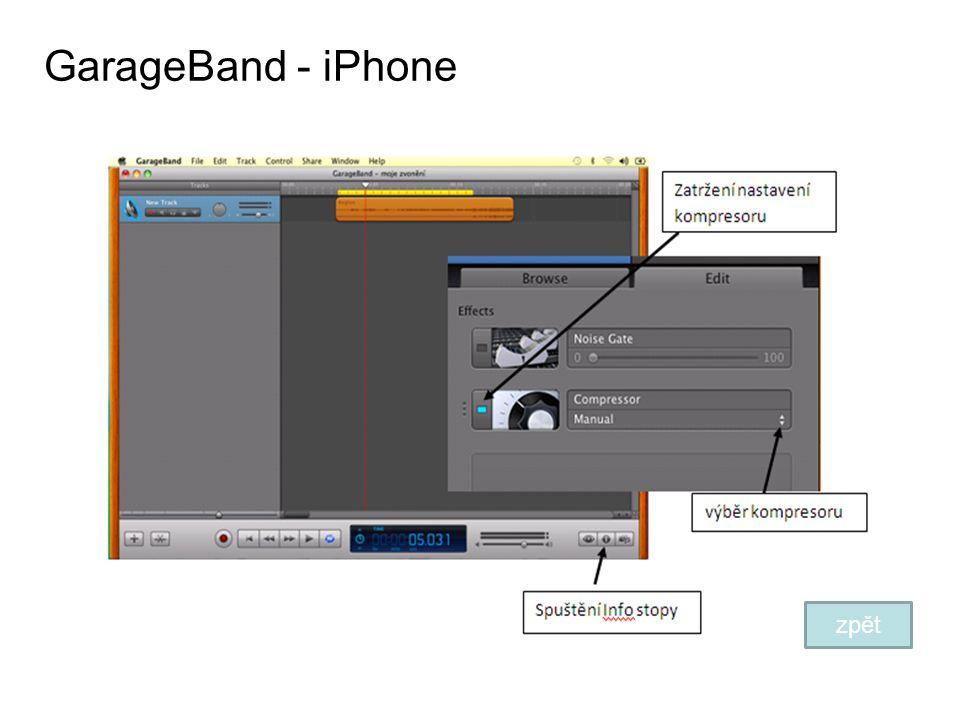 GarageBand - iPhone zpět