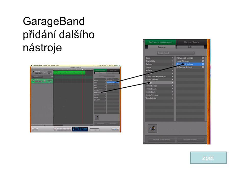 GarageBand přidání dalšího nástroje zpět