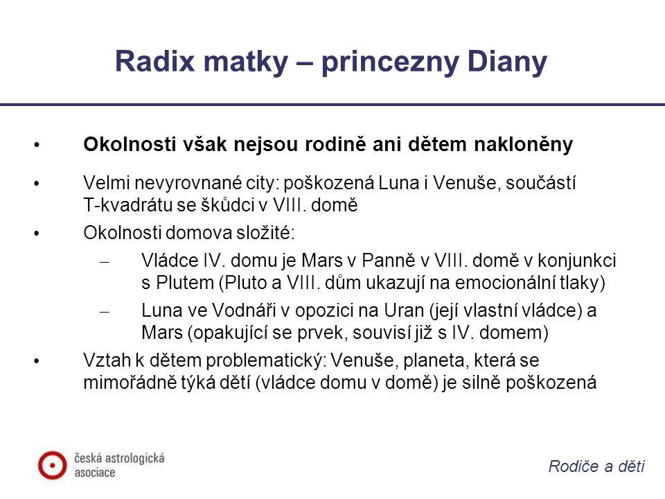 Rodiče a děti Radix matky – princezny Diany • Okolnosti však nejsou rodině ani dětem nakloněny • Velmi nevyrovnané city: poškozená Luna i Venuše, souč