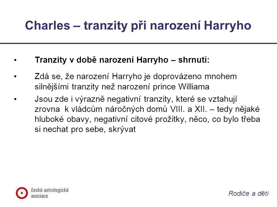 Rodiče a děti Charles – tranzity při narození Harryho • Tranzity v době narození Harryho – shrnutí: • Zdá se, že narození Harryho je doprovázeno mnohe