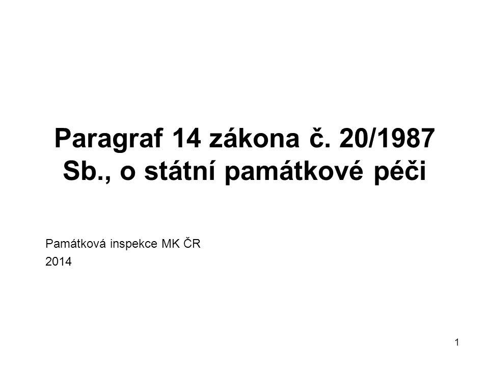 1 Paragraf 14 zákona č. 20/1987 Sb., o státní památkové péči Památková inspekce MK ČR 2014