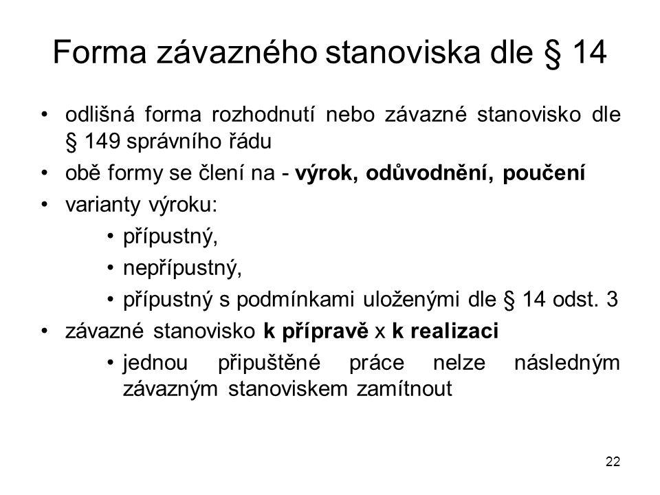 22 Forma závazného stanoviska dle § 14 •odlišná forma rozhodnutí nebo závazné stanovisko dle § 149 správního řádu •obě formy se člení na - výrok, odův