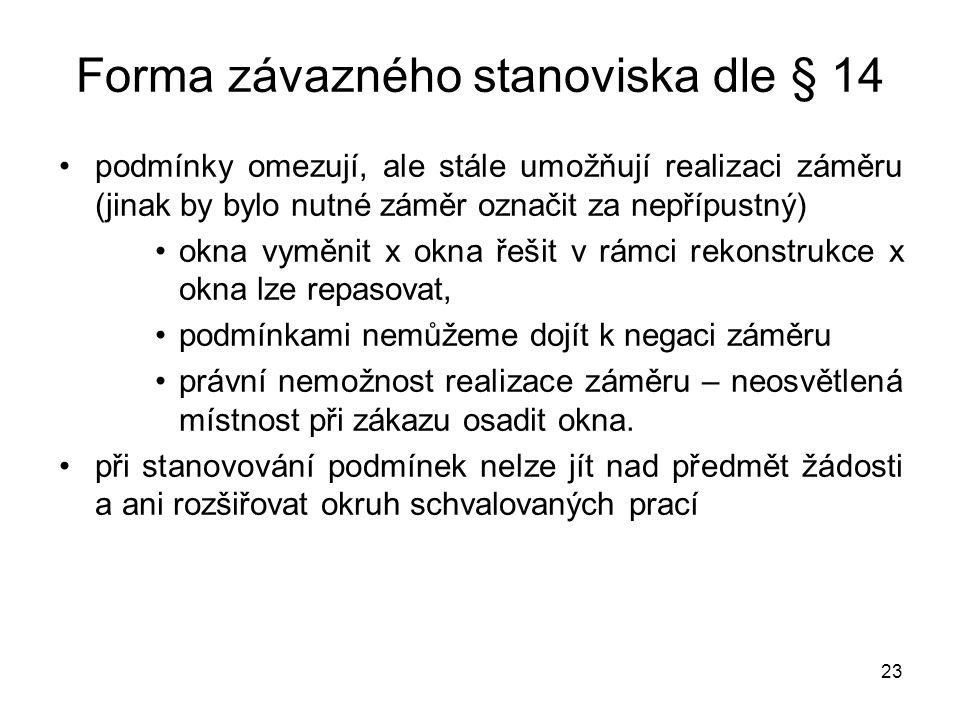 23 Forma závazného stanoviska dle § 14 •podmínky omezují, ale stále umožňují realizaci záměru (jinak by bylo nutné záměr označit za nepřípustný) •okna