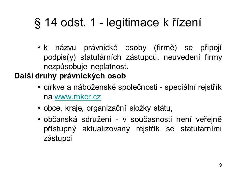 9 •k názvu právnické osoby (firmě) se připojí podpis(y) statutárních zástupců, neuvedení firmy nezpůsobuje neplatnost. Další druhy právnických osob •c