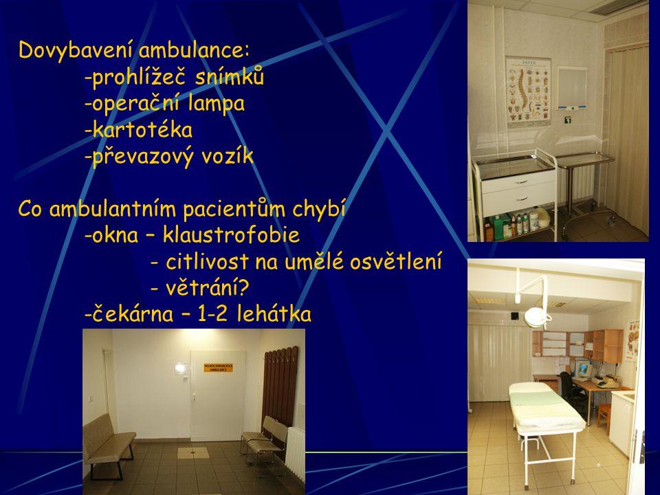 Dovybavení ambulance: -prohlížeč snímků -operační lampa -kartotéka -převazový vozík Co ambulantním pacientům chybí -okna – klaustrofobie - citlivost na umělé osvětlení - větrání.