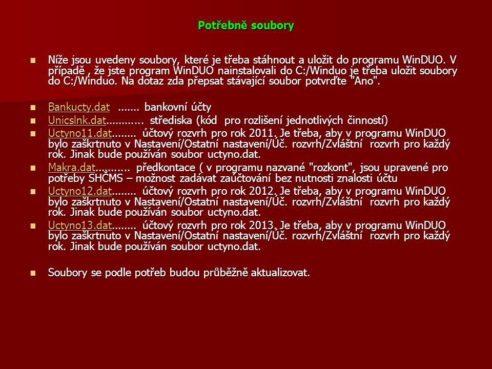 Potřebně soubory  Níže jsou uvedeny soubory, které je třeba stáhnout a uložit do programu WinDUO. V případě, že jste program WinDUO nainstalovali do