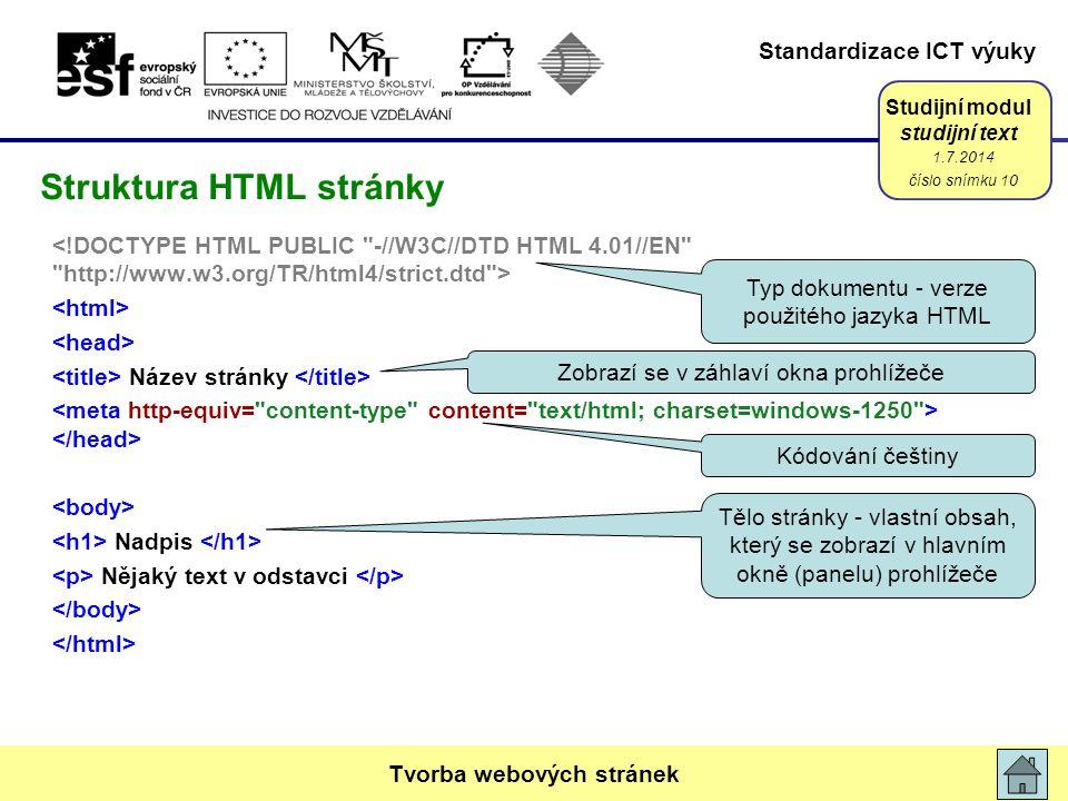 Standardizace ICT výuky Studijní modul studijní text Název stránky Nadpis Nějaký text v odstavci 1.7.2014 číslo snímku 10 Tvorba webových stránek Struktura HTML stránky Typ dokumentu - verze použitého jazyka HTML Kódování češtiny Zobrazí se v záhlaví okna prohlížeče Tělo stránky - vlastní obsah, který se zobrazí v hlavním okně (panelu) prohlížeče
