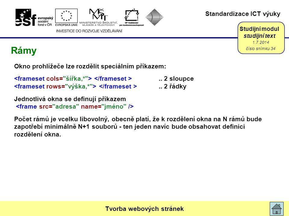 Standardizace ICT výuky Studijní modul studijní text Okno prohlížeče lze rozdělit speciálním příkazem:.. 2 sloupce.. 2 řádky Jednotlivá okna se definu