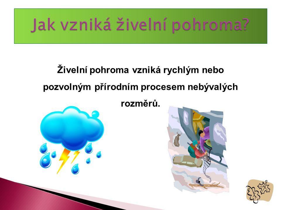 Živelní pohroma vzniká rychlým nebo pozvolným přírodním procesem nebývalých rozměrů.