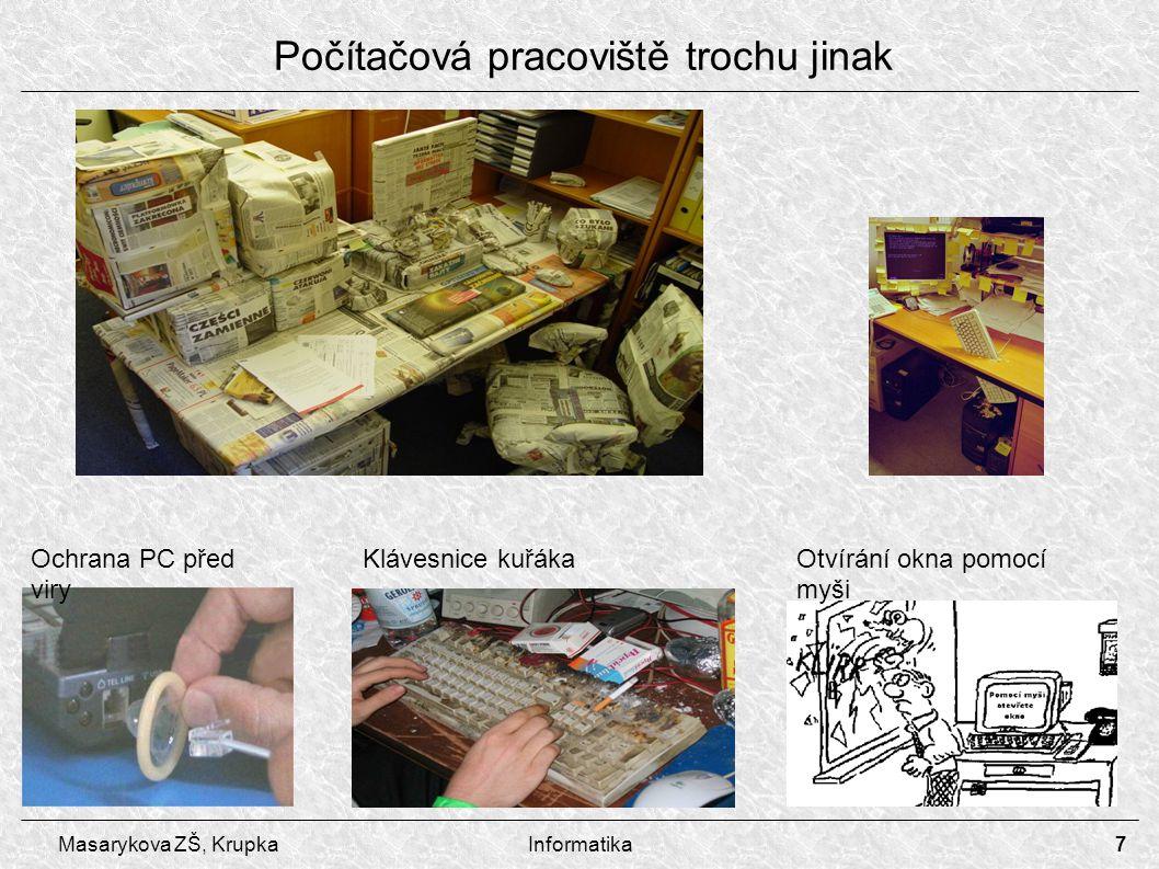 7 Masarykova ZŠ, KrupkaInformatika Počítačová pracoviště trochu jinak Ochrana PC před viry Otvírání okna pomocí myši Klávesnice kuřáka