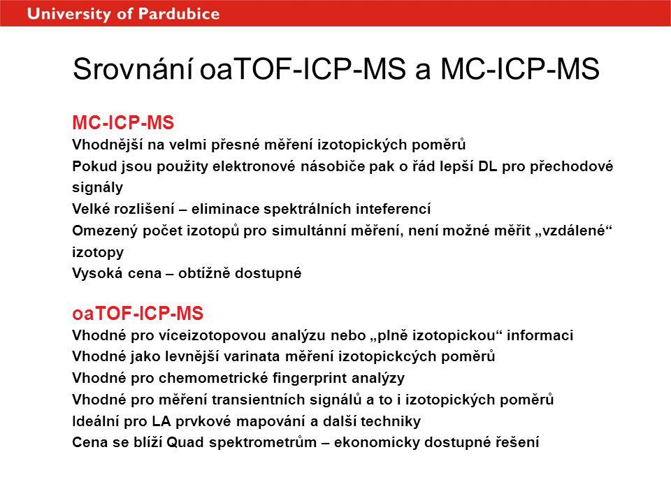 Srovnání oaTOF-ICP-MS a MC-ICP-MS MC-ICP-MS Vhodnější na velmi přesné měření izotopických poměrů Pokud jsou použity elektronové násobiče pak o řád lep