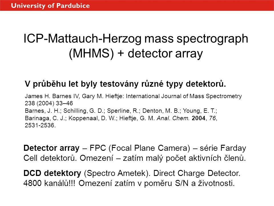 ICP-Mattauch-Herzog mass spectrograph (MHMS) + detector array V průběhu let byly testovány různé typy detektorů. James H. Barnes IV, Gary M. Hieftje: