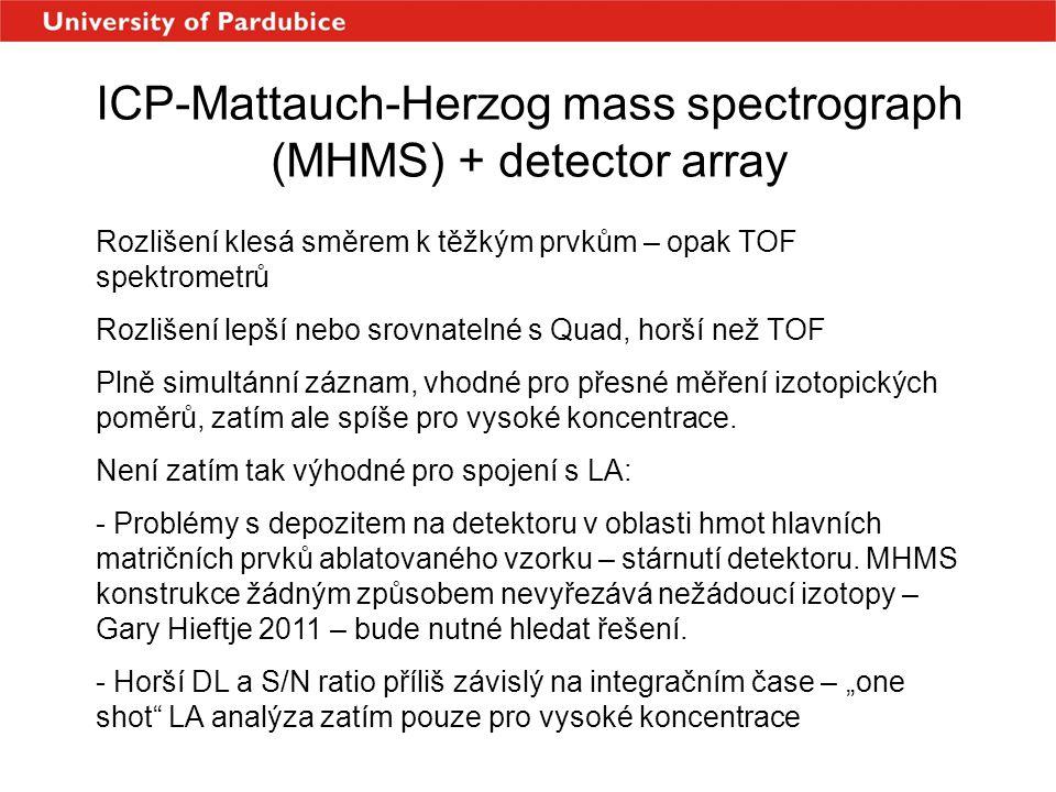 ICP-Mattauch-Herzog mass spectrograph (MHMS) + detector array Rozlišení klesá směrem k těžkým prvkům – opak TOF spektrometrů Rozlišení lepší nebo srov
