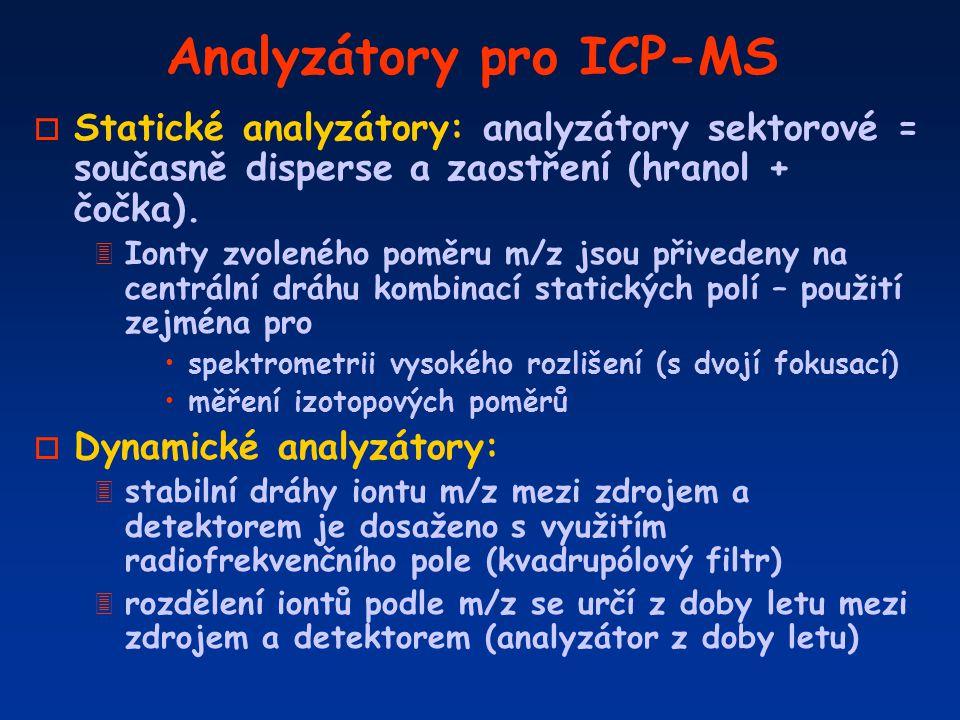 Analyzátory pro ICP-MS o Statické analyzátory: analyzátory sektorové = současně disperse a zaostření (hranol + čočka). 3 Ionty zvoleného poměru m/z js