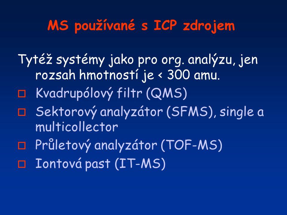 MS používané s ICP zdrojem Tytéž systémy jako pro org. analýzu, jen rozsah hmotností je < 300 amu. o Kvadrupólový filtr (QMS) o Sektorový analyzátor (