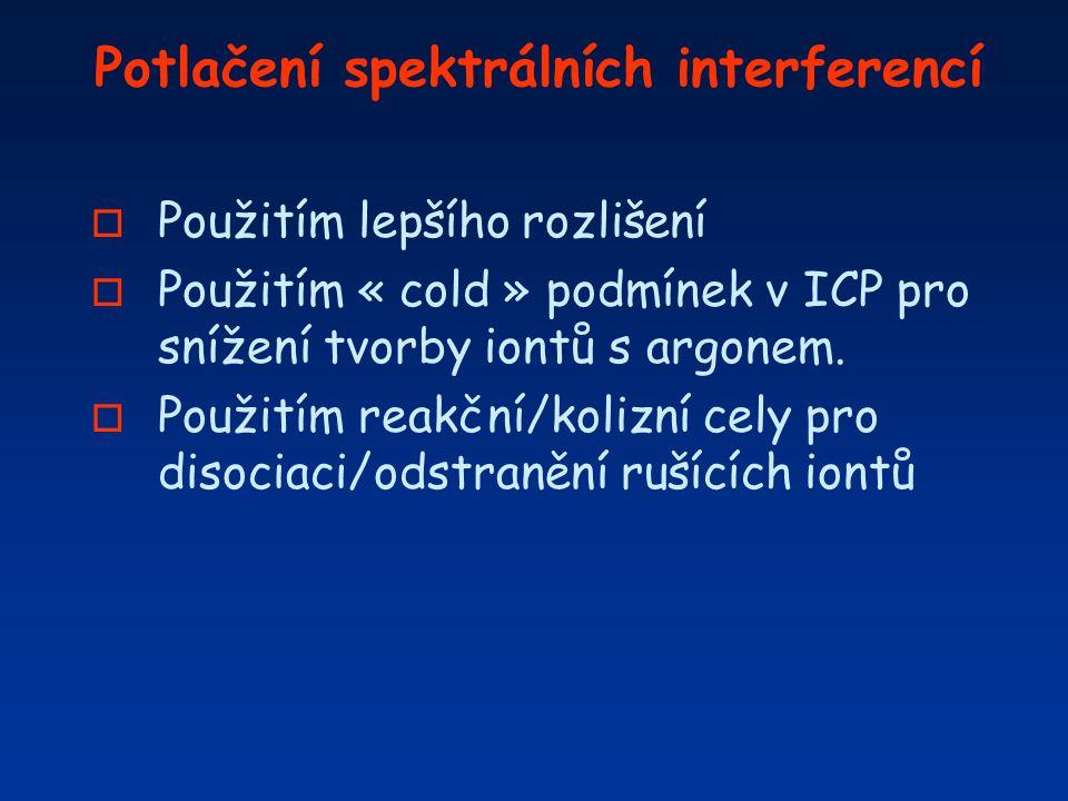 Potlačení spektrálních interferencí o Použitím lepšího rozlišení o Použitím « cold » podmínek v ICP pro snížení tvorby iontů s argonem. o Použitím rea