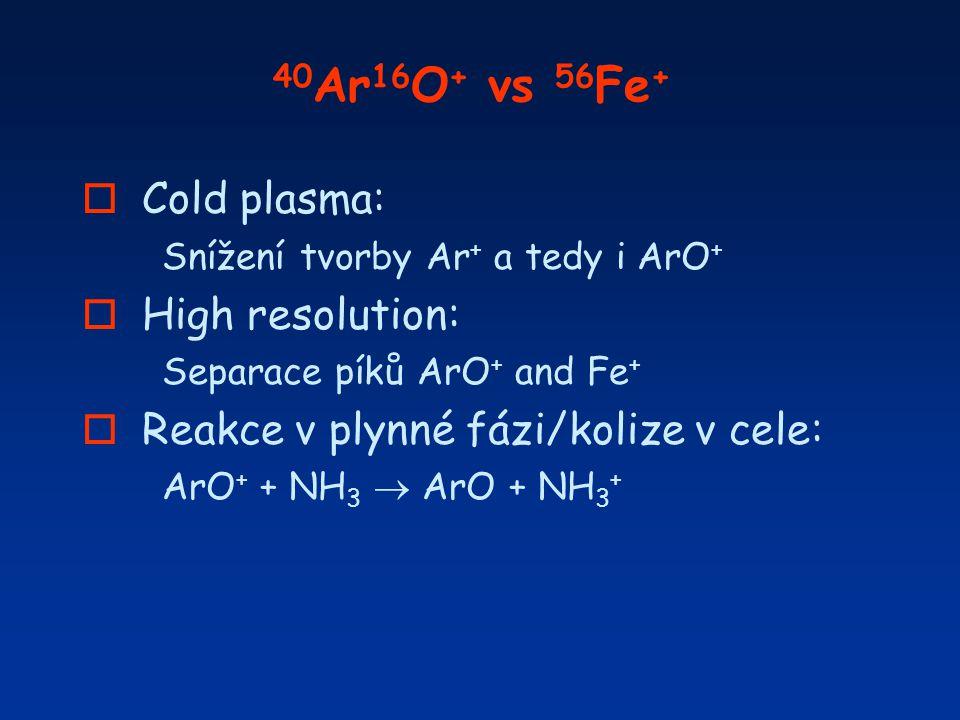 40 Ar 16 O + vs 56 Fe + o Cold plasma: Snížení tvorby Ar + a tedy i ArO + o High resolution: Separace píků ArO + and Fe + o Reakce v plynné fázi/koliz