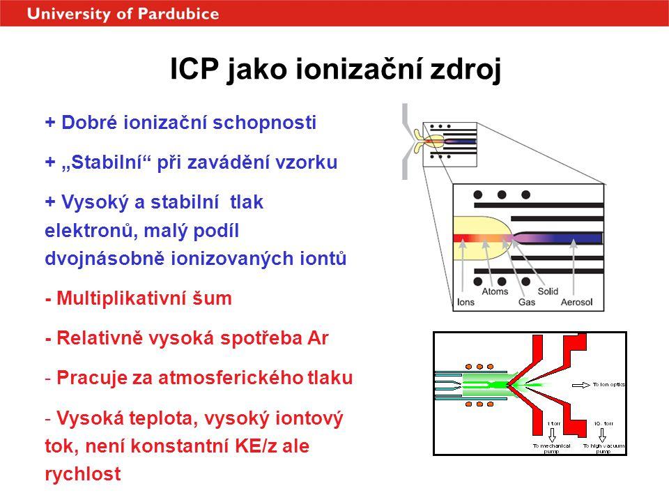 """ICP jako ionizační zdroj + Dobré ionizační schopnosti + """"Stabilní"""" při zavádění vzorku + Vysoký a stabilní tlak elektronů, malý podíl dvojnásobně ioni"""