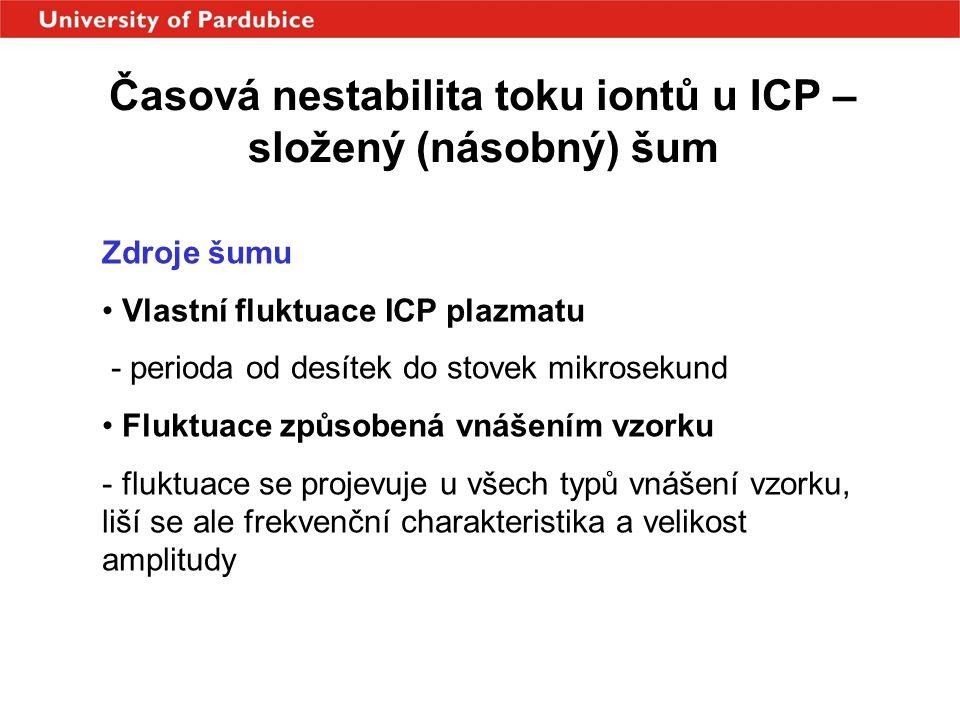 Časová nestabilita toku iontů u ICP – složený (násobný) šum Zdroje šumu • Vlastní fluktuace ICP plazmatu - perioda od desítek do stovek mikrosekund •