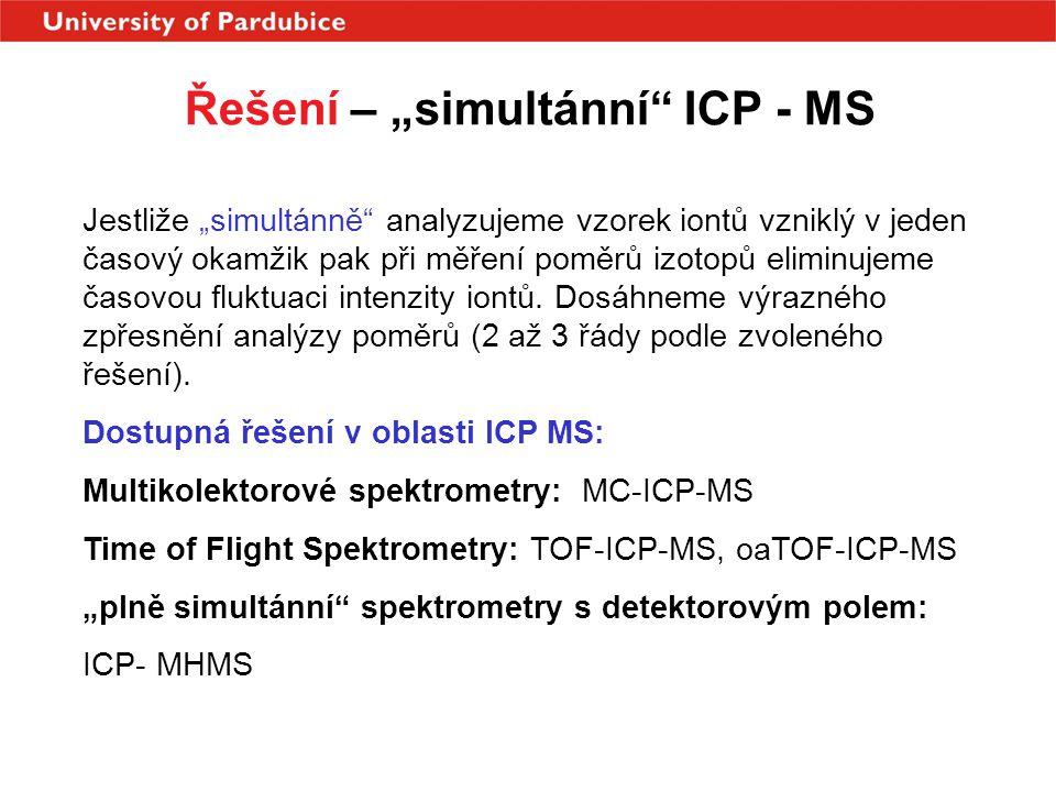 """Řešení – """"simultánní"""" ICP - MS Jestliže """"simultánně"""" analyzujeme vzorek iontů vzniklý v jeden časový okamžik pak při měření poměrů izotopů eliminujeme"""