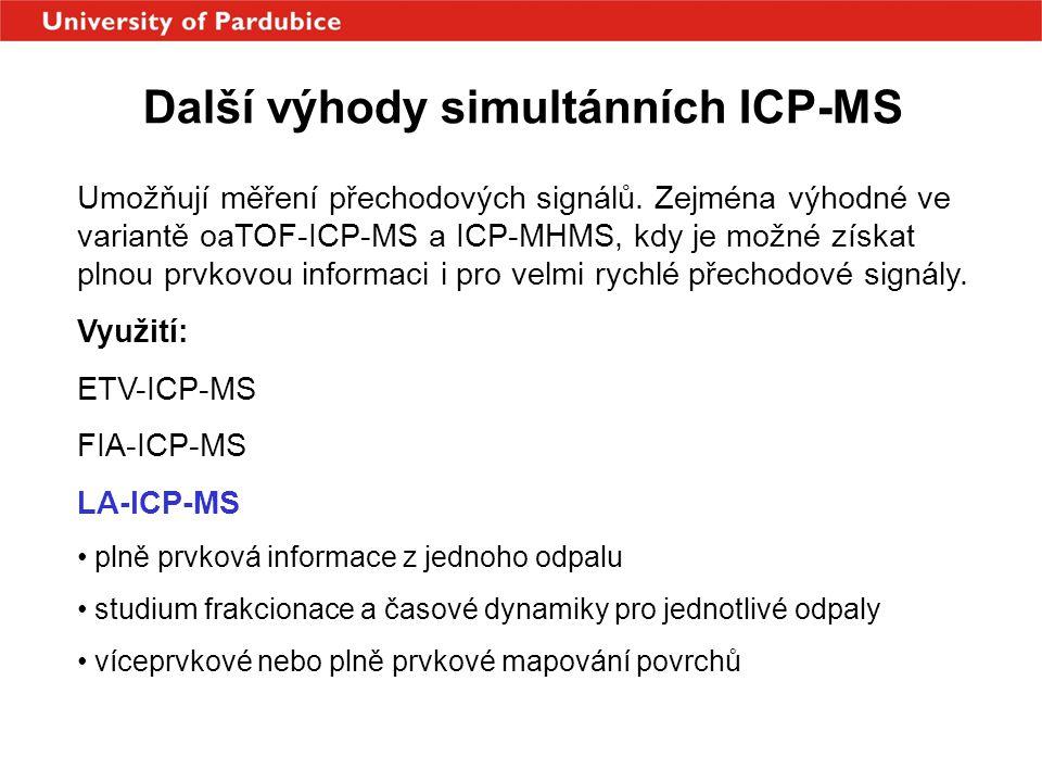 Další výhody simultánních ICP-MS Umožňují měření přechodových signálů. Zejména výhodné ve variantě oaTOF-ICP-MS a ICP-MHMS, kdy je možné získat plnou
