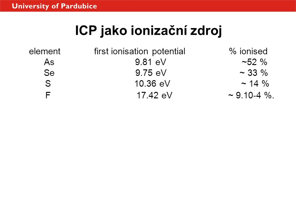 ICP jako ionizační zdroj element first ionisation potential % ionised As 9.81 eV ~52 % Se 9.75 eV ~ 33 % S 10.36 eV ~ 14 % F 17.42 eV ~ 9.10-4 %.